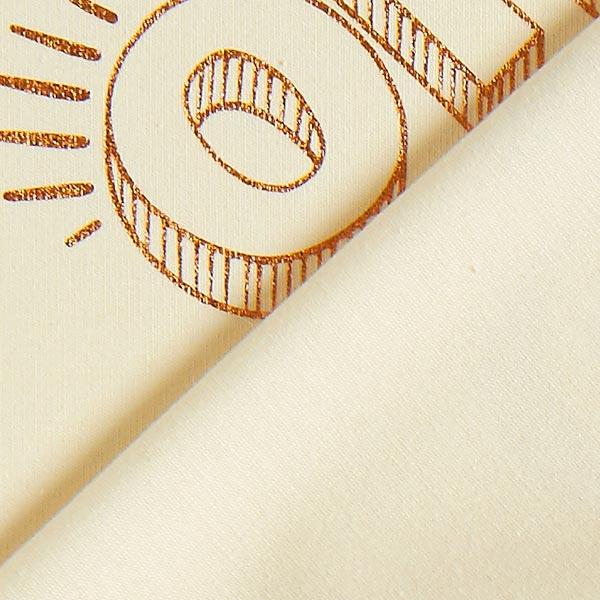 GLOW Metallic Oh! Jersey Imprimé feuille GOTS – écru/cuivre | Albstoffe | Hamburger Liebe