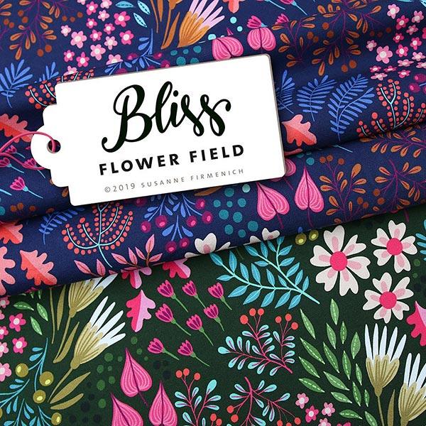 BLISS Flower Field Jersey GOTS – bleu marine   Albstoffe   Hamburger Liebe
