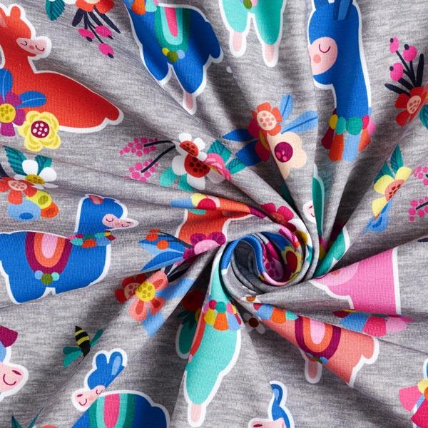 LAMAKA Panel jersey coton Alpaga cool 80cm GOTS – bleu
