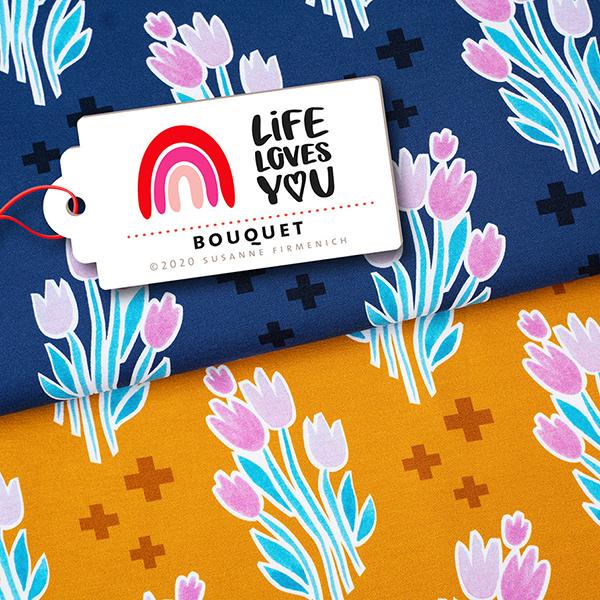 LIFE LOVES YOU Jersey Bouquet GOTS – curry | Albstoffe | Hamburger Liebe
