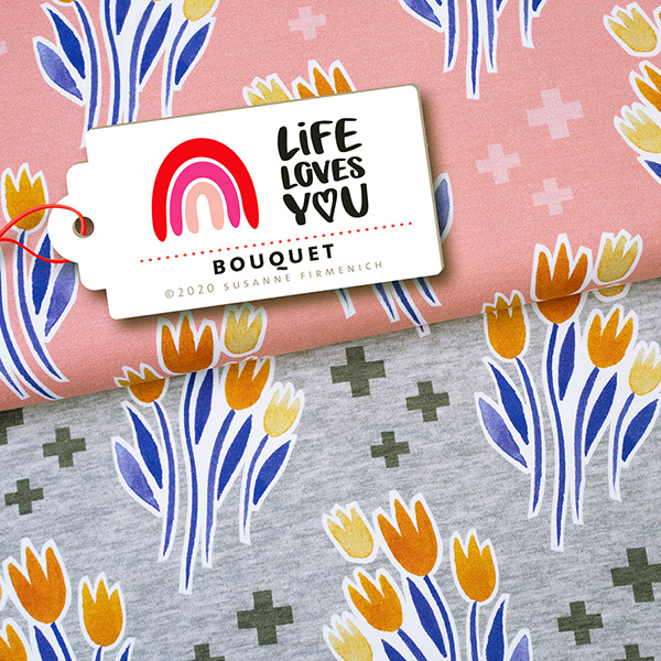 LIFE LOVES YOU Jersey Bouquet GOTS – hellgrau | Albstoffe | Hamburger Liebe