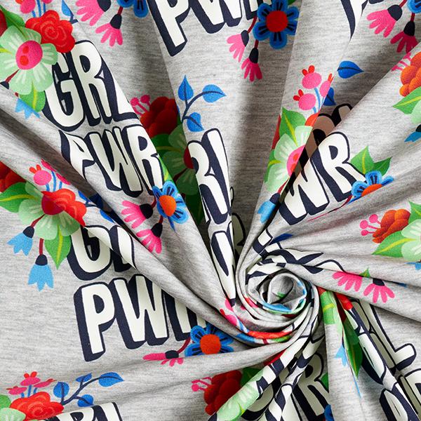 Jersey coton BLOOM Girl Power GOTS – gris   Albstoffe   Hamburger Liebe