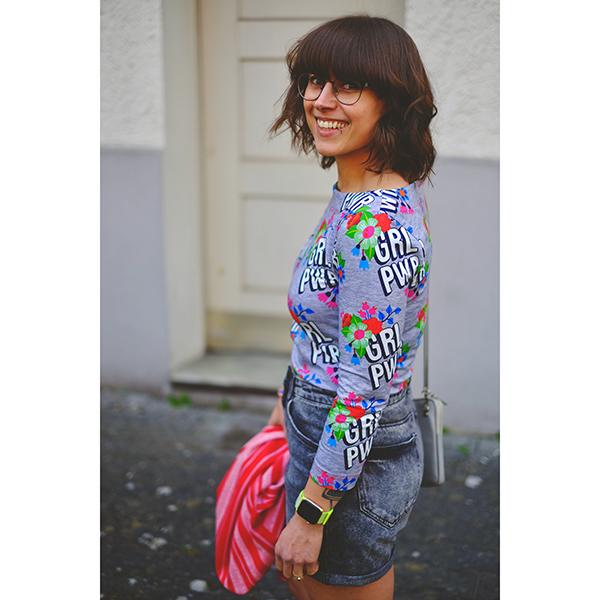 Jersey coton BLOOM Girl Power GOTS – gris | Albstoffe | Hamburger Liebe