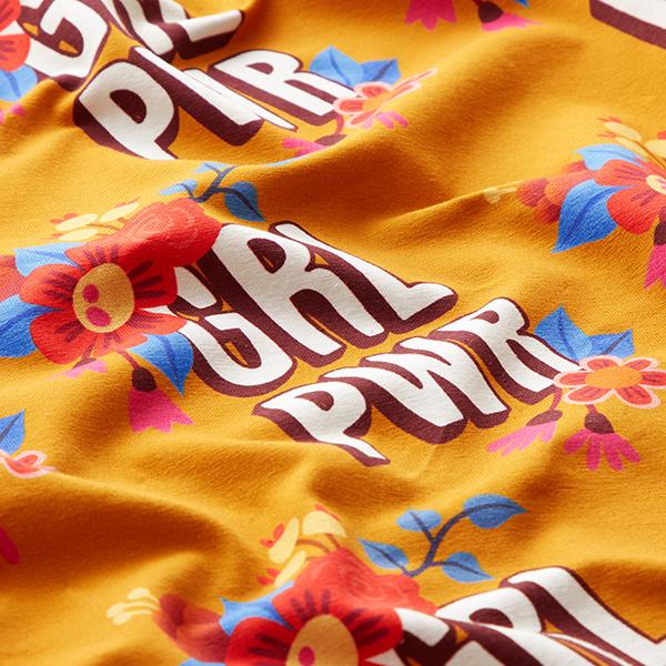 Jersey coton BLOOM Girl Power GOTS – curry | Albstoffe | Hamburger Liebe