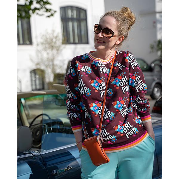 Jersey coton BLOOM Girl Power GOTS – rouge bordeaux | Albstoffe | Hamburger Liebe