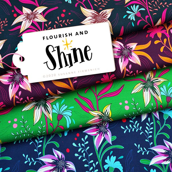 SHINE Jersey Flourish And Shine GOTS – aubergine | Albstoffe | Hamburger Liebe
