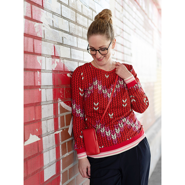 PLAIN STITCHES Granny Made Sweat GOTS – rouge | Albstoffe | Hamburger Liebe