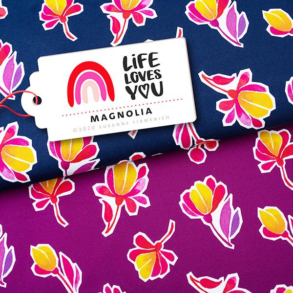 LIFE LOVES YOU Sweat Magnolia GOTS – pourpre | Albstoffe | Hamburger Liebe