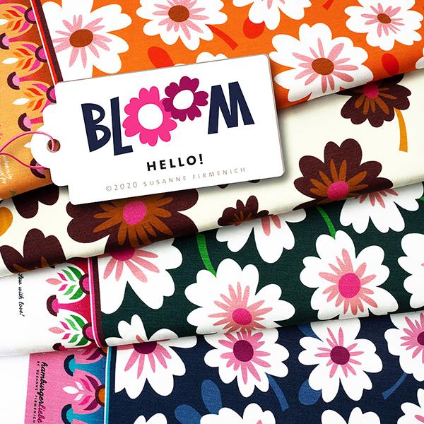 Jersey tencel BLOOM Bloom Hello – blanc | Albstoffe | Hamburger Liebe