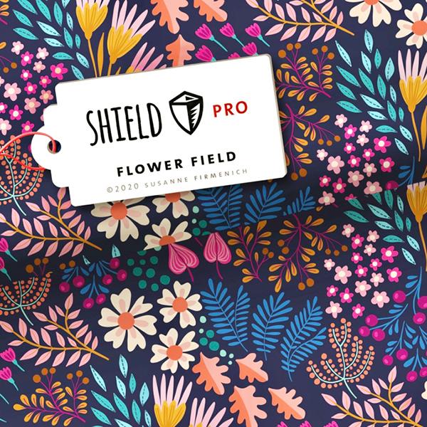 SHIELD PRO Antimicrobien Jersey Flower Field – bleu marine/rose | Albstoffe