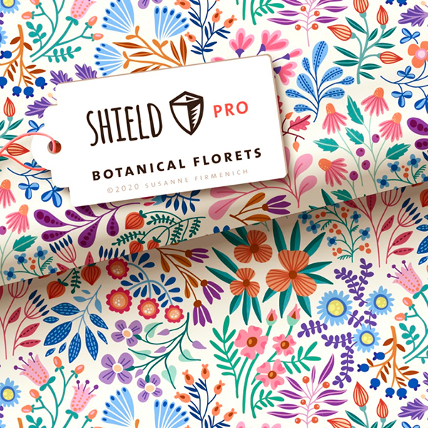 SHIELD PRO Antimikrobieller Jersey Botanical Florets – weiss/orange | Albstoffe