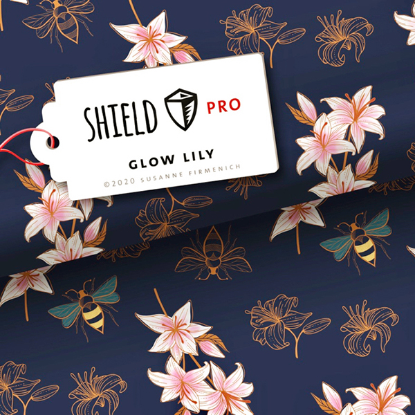 SHIELD PRO Antimicrobien Jersey Glow Lily – bleu marine/rose | Albstoffe