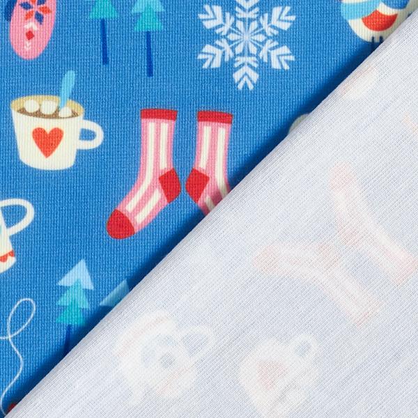 SHIELD PRO Jersey antimicrobien Cozy Winter – bleu jean/rouge | Albstoffe