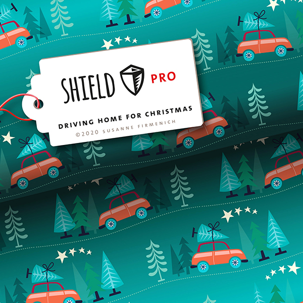 SHIELD PRO Jersey antimicrobien Driving Home For Christmas – pétrole/rouge | Albstoffe