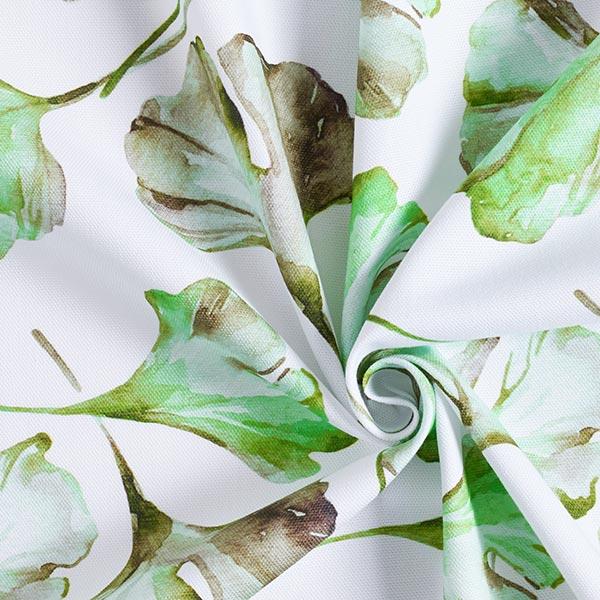 Dekostoff Halbpanama Ginkgo Aquarell – weiss/apfelgrün