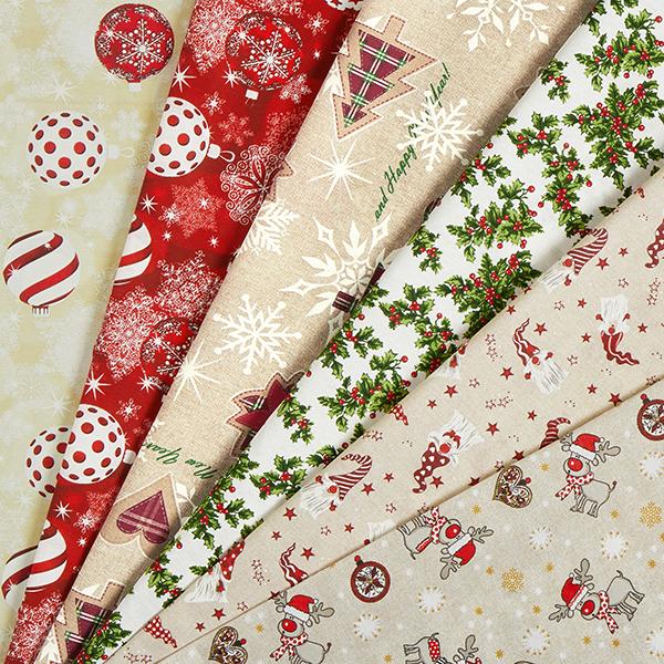 Tissu de décoration Canvas Boules de sapin de Noël – beige