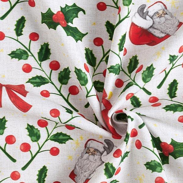 Dekostoff Halbpanama Stechpalme und Weihnachtsmann – nebelgrau