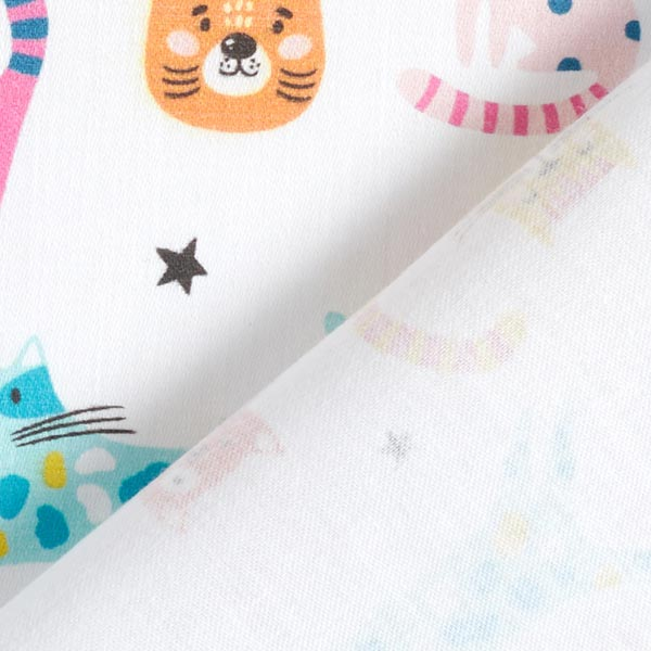 Tissu de décoration Satin de coton Chats multicolores