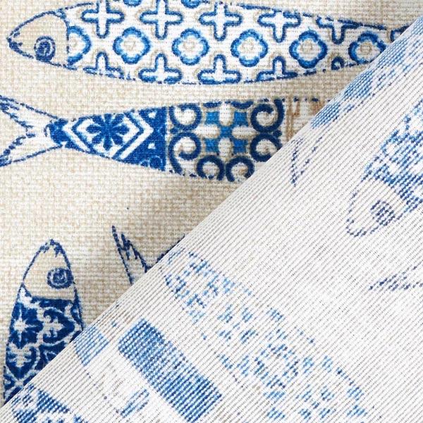Tissu de décoration Canvas Sardines – bleu/nature