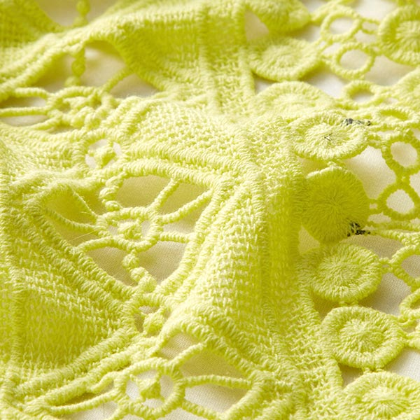 Tissu dentelle Bord festonné Festival – jaune soleil