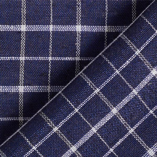 Tissu pour chemise Mélange viscose lin Motif carreaux – bleu marine/blanc