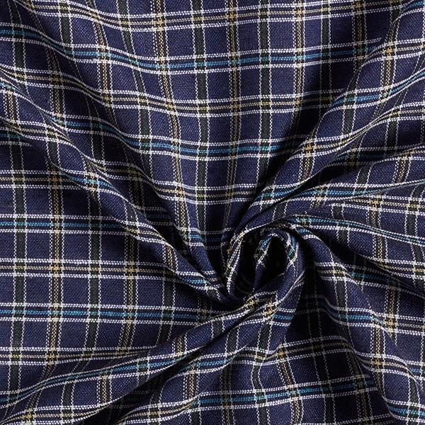 Tissu pour chemise Mélange viscose lin Motif carreaux – bleu marine/jaune