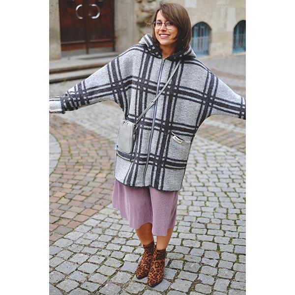 Tissu de manteau maille carreau foulé – gris clair/anthracite