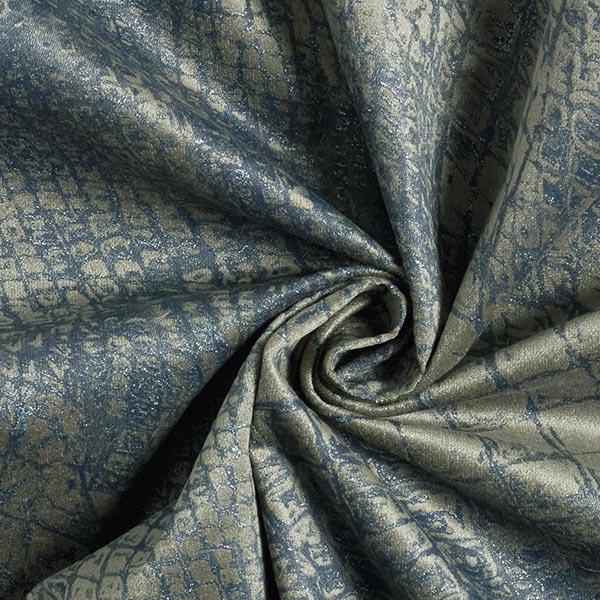 Sergé coton Motif reptile métallisé – olive