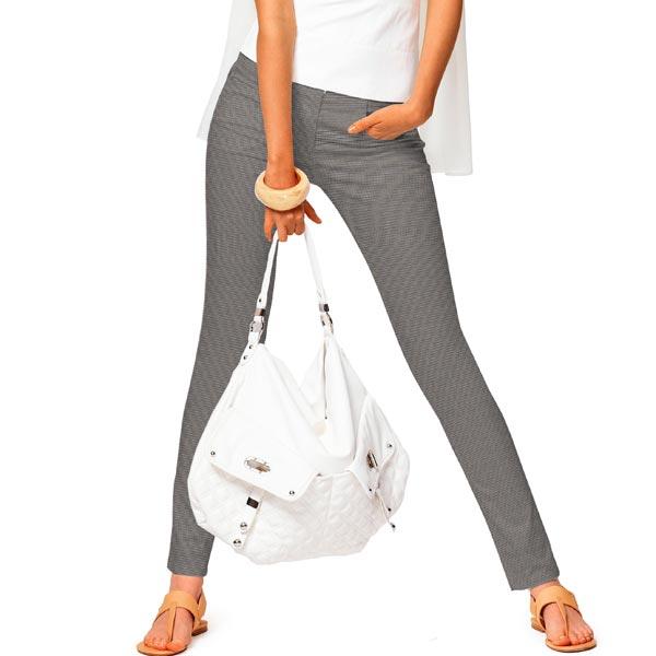 Pantalon en coton stretch pied de poule – gris