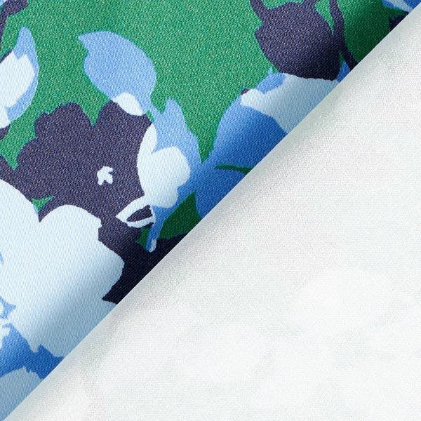 Pantalon en coton stretch camouflage fleurs – bleu ciel