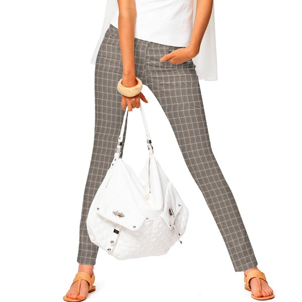 Pantalon en coton stretch carreaux – marron clair