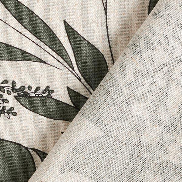 Mélange viscose lin Forêt de feuilles – nature/kaki