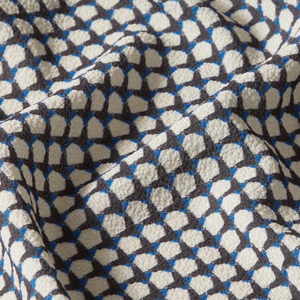 Crêpe chiffon Aspect pied-de-poule – bleu roi/sable