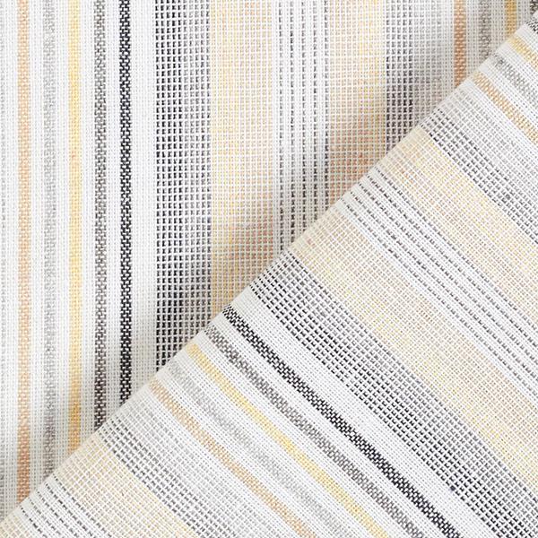 Tissu de coton mélangé Rayures multicolores aspect lin – jaune/beige