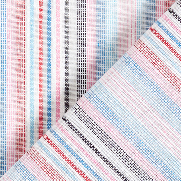 Tissu de coton mélangé Rayures multicolores aspect lin – rose/bleu