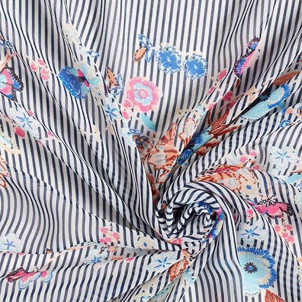 Chiffon Rayures & Fleurs – bleu marine/blanc