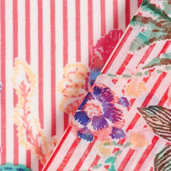 Chiffon Rayures & Fleurs – rouge/blanc