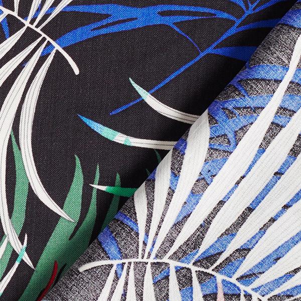 Tissu de chemisier Viscose Plantes tropicales – noir