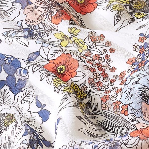 Chiffon Aspect plissé Fleurs – écru