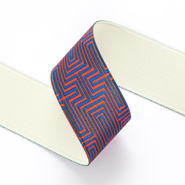 Ruban élastique Labyrinthe  [ 3,5 cm ] – bleu marine/orange