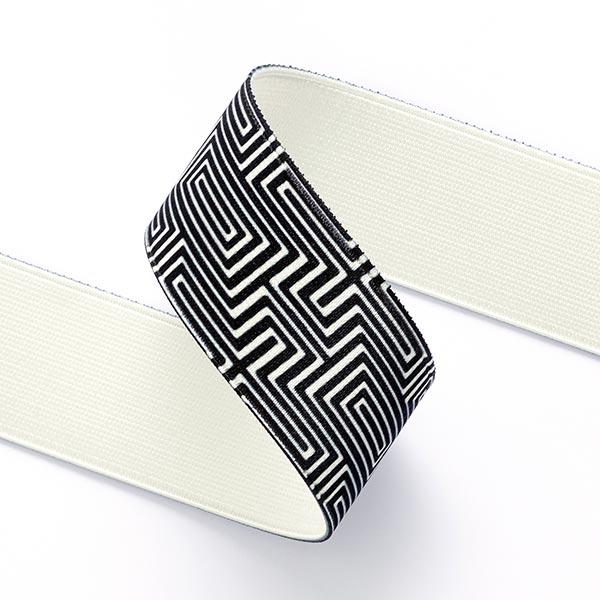 Ruban élastique Labyrinthe  [ 3,5 cm ] – noir/blanc