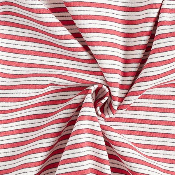 Bord-côtes coton Mix de rayures – rouge/blanc