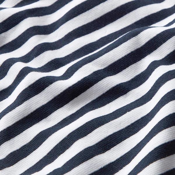 Bord-côtes coton Rayures marines – blanc/noir