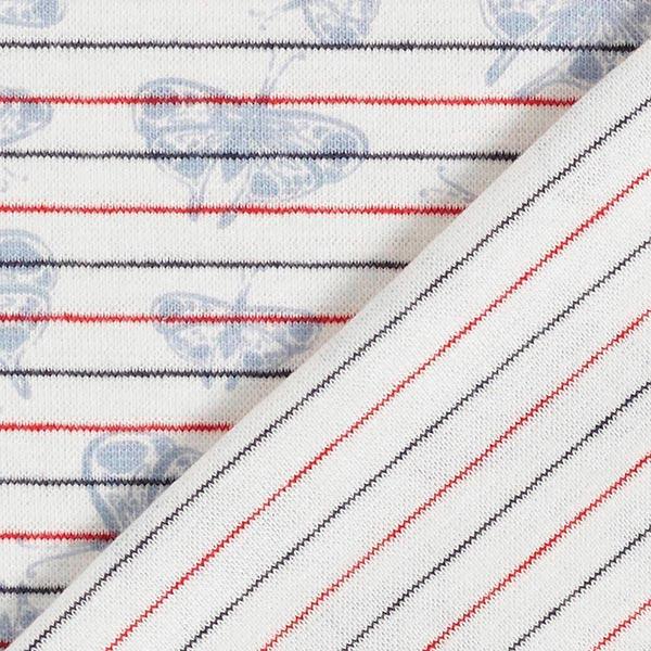 Bord-côtes coton Rayures & papillons – blanc/rouge
