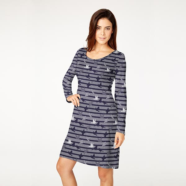 Jersey coton Rayures scintillantes Oiseaux – bleu marine/argent
