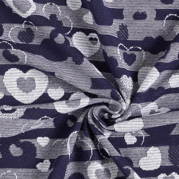 Jersey coton Rayures scintillantes Cœurs – bleu marine/argent