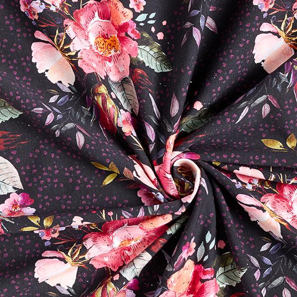 Jersey de coton bio Fleurs dessinées avec points – noir/vieux rose