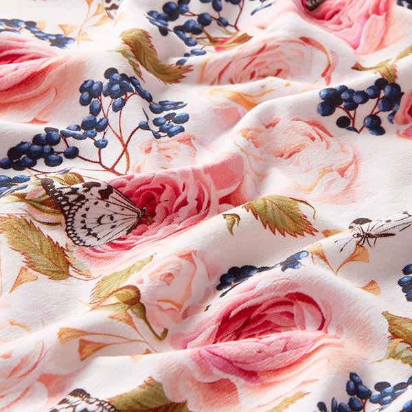 Jersey de coton bio Pivoines & baies et papillons – rose