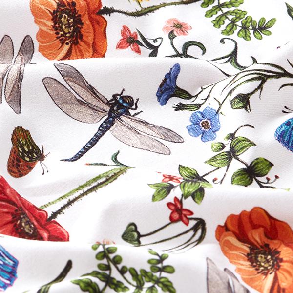 Jersey de coton bio Fleurs & libellules et papillons – blanc