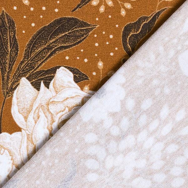 Jersey de coton bio Pivoines et points – ocre/beige clair